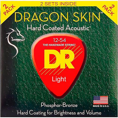 DR Strings Dragon Skin Clear Coated Phosphor Bronze Medium Acoustic Guitar Strings (12-54) 2 Pack