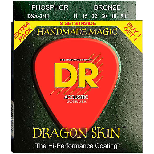 DR Strings Dragon Skin Clear Coated Phosphor Bronze Medium-Light Acoustic Guitar Strings (11-50) 2 Pack-thumbnail