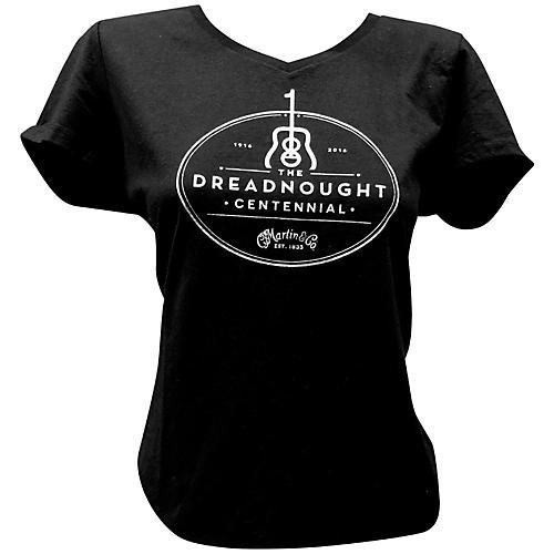 Martin Dreadnought Centennial V-Neck Ladies T-Shirt Medium Black