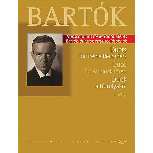 Editio Musica Budapest Duets for Treble Recorders (from the Children's and Female Choruses) EMB Series Softcover by Béla Bartók-thumbnail