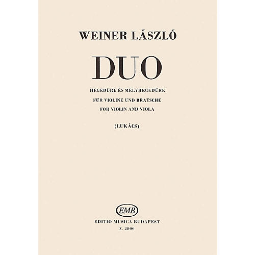 Editio Musica Budapest Duo for Violin and Viola EMB Series Softcover Composed by László Weiner-thumbnail