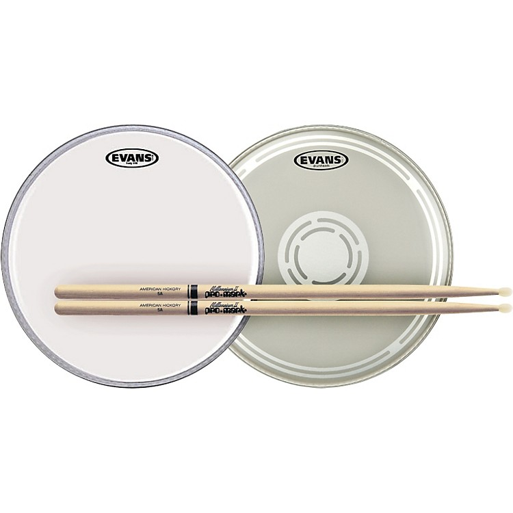 Evans EC Reverse Dot Snare Batter and Snare Side Head Pack with Free Pair of Pro-Mark Sticks Nylon 5A