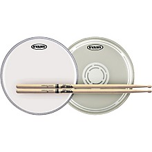 Evans EC Reverse Dot Snare Batter and Snare Side Head Pack with Free Pair of Pro-Mark Sticks Wood 5B