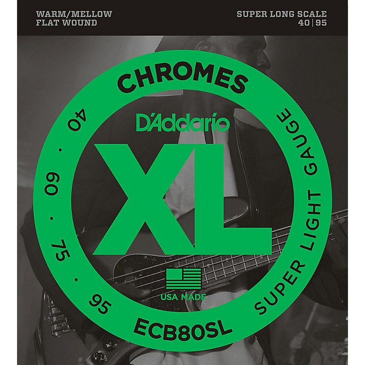 D'Addario ECB80SL Chromes Flat Wound Super Soft/Long Bass Strings