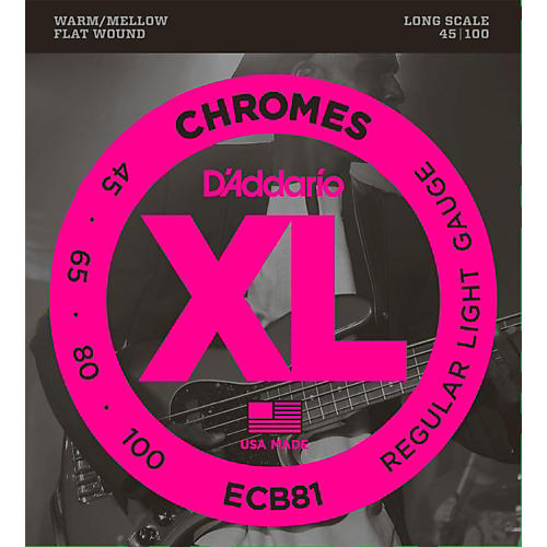 D'Addario ECB81 XL Chromes Flatwound Bass Strings