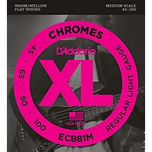 Open BoxD'Addario ECB81M Chromes Flat Wound Electric Bass Strings Light Medium Scale