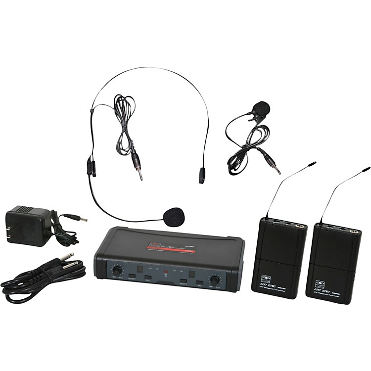 Galaxy Audio ECD Dual Channel UHF Wireless System with One Lapel and One Headset Microphone