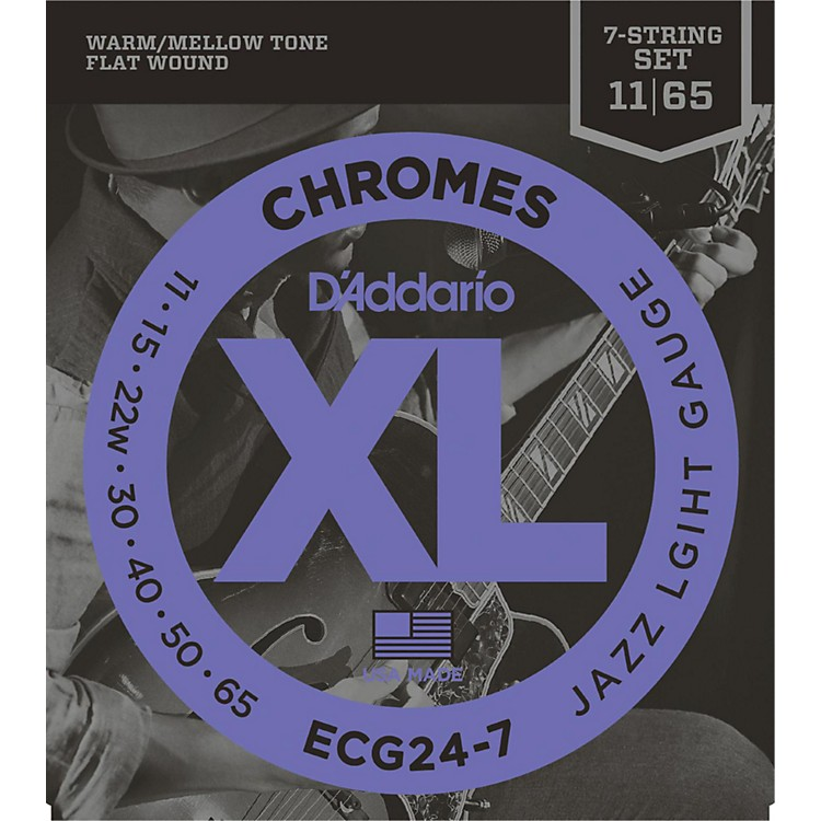 D'Addario ECG24-7 7-String Chrome Flat Wound Electric Guitar Strings