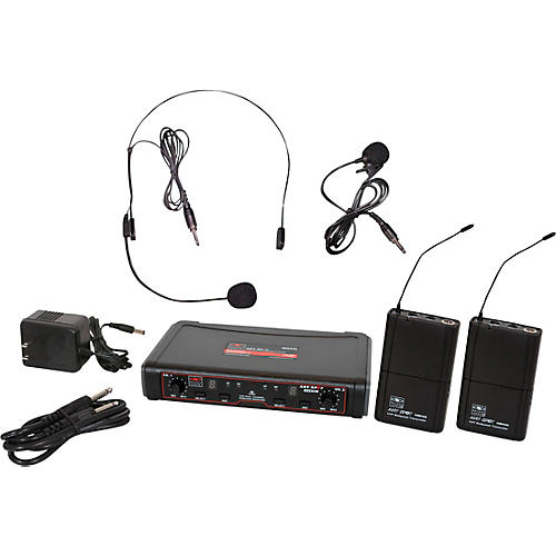 Galaxy Audio EDXR/38SV Dual-Channel Wireless Headset and Lavalier System