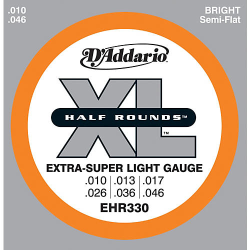 D'Addario EHR330 Half Round Extra Super Light Electric Guitar Strings-thumbnail
