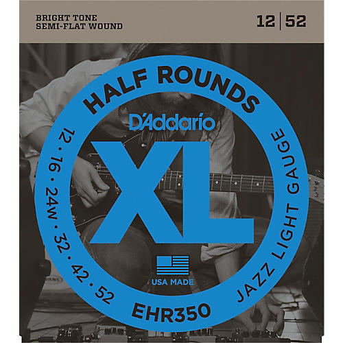 D'Addario EHR350 Half Round Jazz Light Electric Guitar Strings-thumbnail