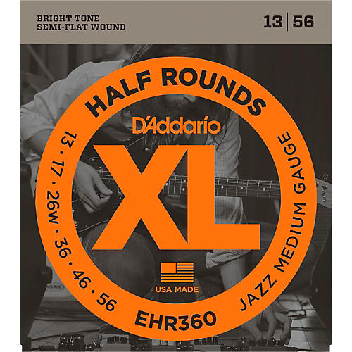 D'Addario EHR360 Half Round Jazz Medium Electric Guitar Strings-thumbnail