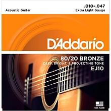 D'Addario EJ10 80/20 Bronze Extra Light Acoustic Guitar Strings