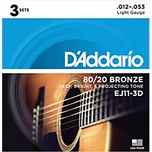 D'Addario EJ11-3D 80/20 Bronze Light Acoustic Guitar Strings 3-Pack