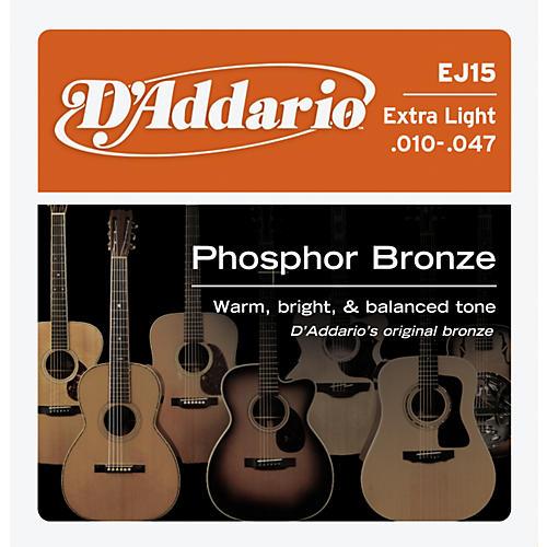 D'Addario EJ15 Phosphor Bronze Extra Light Acoustic Strings-thumbnail