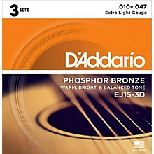 D'Addario EJ15 Phosphor Bronze Extra Light Acoustic Strings 3-Pack