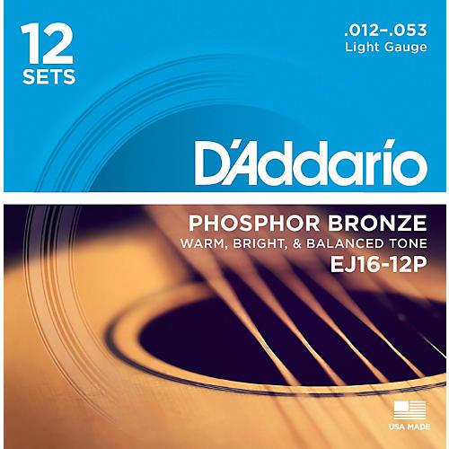 D'Addario EJ16-12P Phosphor Bronze Light Acoustic Guitar String (12-Pack)-thumbnail