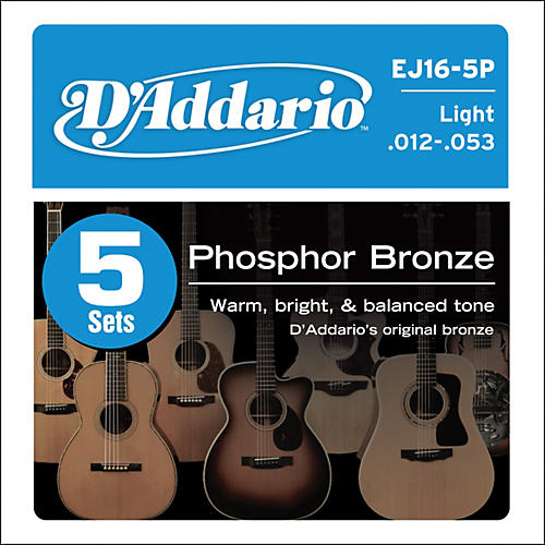 D'Addario EJ16-5P Phosphor Bronze Acoustic Guitar Strings Light