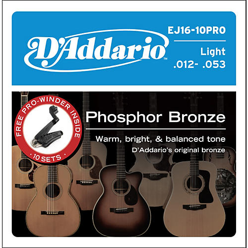D'Addario EJ16 Acoustic Guitar Strings 10-Pack with Free Prowinder