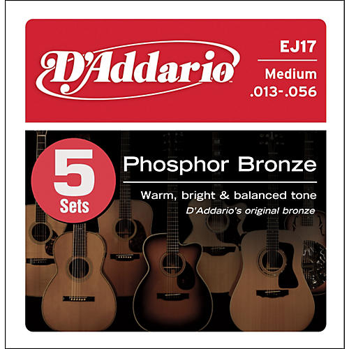 D'Addario EJ17-5P Phosphor Bronze Acoustic Guitar Strings Medium