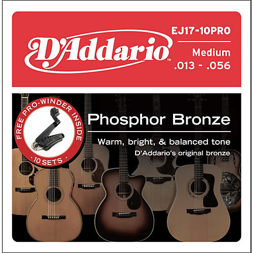 D'Addario EJ17 Acoustic Guitar Strings 10-Pack with Free Prowinder