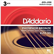 D'Addario EJ17 Phosphor Bronze Medium Acoustic Strings (3-Pack)