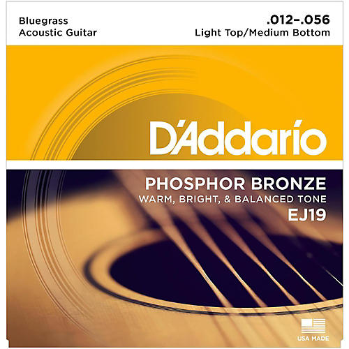 D'Addario EJ19 Phosphor Bronze Bluegrass Medium Light Acoustic Guitar Strings-thumbnail