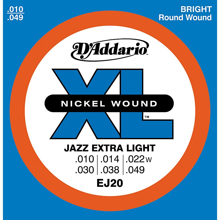 D'Addario EJ20 Nickel Wound Jazz Extra Light Electric Guitar Strings