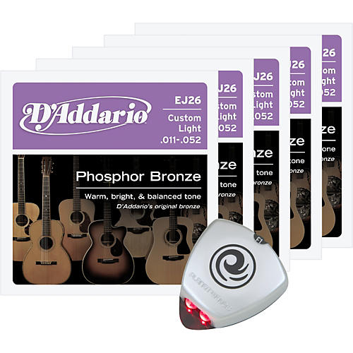 D'Addario EJ26 Custom Light Acoustic Guitar Strings 5-Pack with Free Strobe Tuner-thumbnail