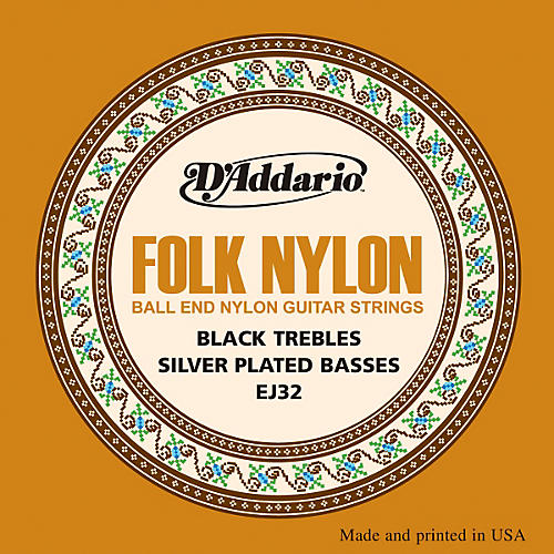 D'Addario EJ32 Folk Nylon Silver/Ball End Black Treble Guitar Strings-thumbnail