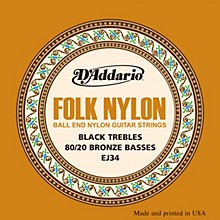 D'Addario EJ34 Folk Nylon 80/20 Bronze/Ball End Black Treble Guitar Strings