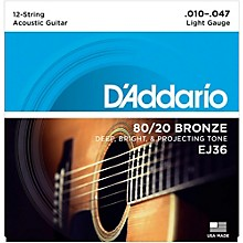 D'Addario EJ36 12-String 80/20 Bronze Light Acoustic Guitar Strings