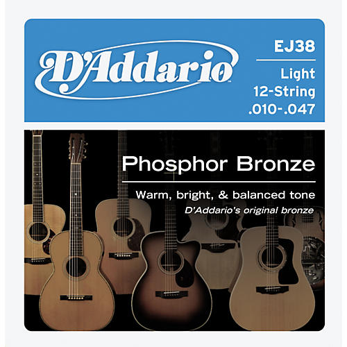 D'Addario EJ38 12-String Phosphor Bronze Light Acoustic Guitar Strings-thumbnail