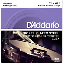 D'Addario EJ57 Nickel Custom Medium 5-String Banjo Strings (11-22)