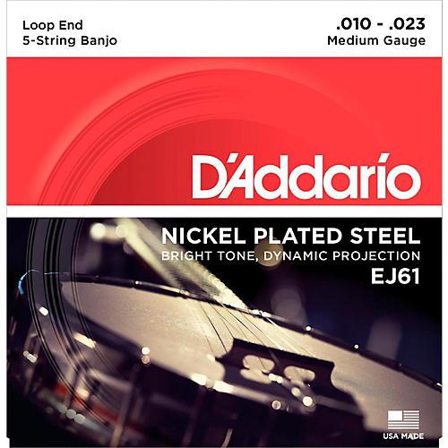D'Addario EJ61 Nickel 5-String Medium Banjo Strings (10-23)-thumbnail