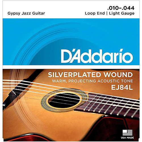 D'Addario EJ84L Gypsy Jazz Silver Wound Loop End Light Guitar Strings