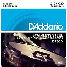 D'Addario EJS60 Stainless Steel Light 5-String Banjo Strings (9-20)