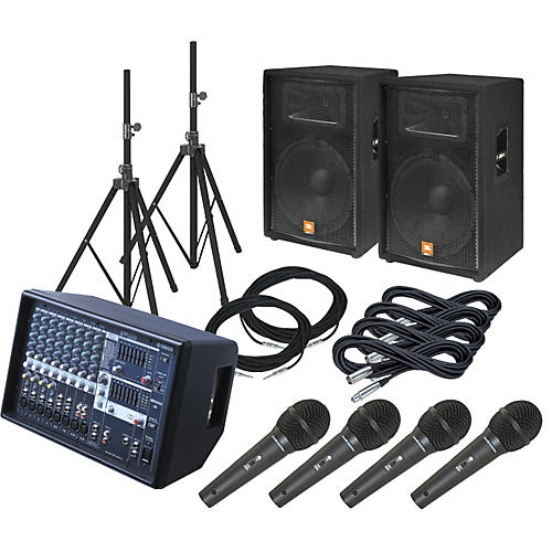Yamaha EMX512SC / JBL JRX115 PA Package with AT M4000S Mics