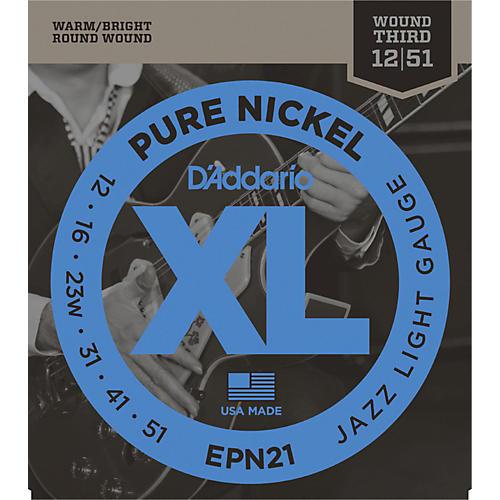 D'Addario EPN21 Pure Nickel Jazz Lite Electric Guitar Strings