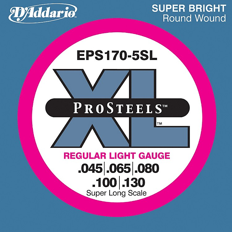 D'AddarioEPS170-5SL  XL ProSteels Regular Light Super Long Scale 5-String Bass Strings