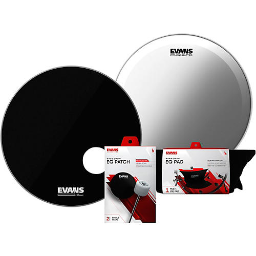 Evans EQ3 System Pack Bass Drumhead Set Black