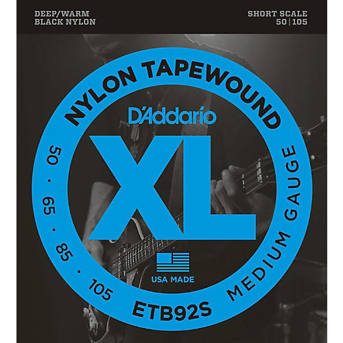 D'Addario ETB92 Black Nylon Tapewound Short Scale Bass Strings