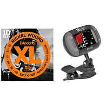 D'Addario EXL110-10P with a DeltaLab Clip-On Tuner