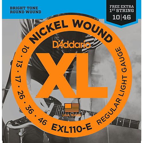 D'Addario EXL110-E Bonus Pack: Light Electric Guitar Strings with Bonus High E String (10-46)-thumbnail