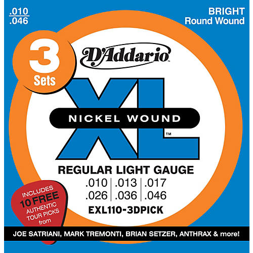 D'Addario EXL110 Electric Guitar Strings 3-Pack with Free Picks