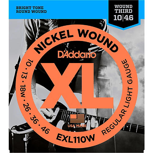 D'Addario EXL110W Nickel Regular Light Wound 3rd Electric Guitar Strings-thumbnail