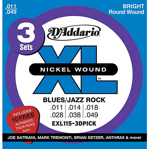 D'Addario EXL115 Electric Guitar Strings 3-Pack with Free Picks-thumbnail