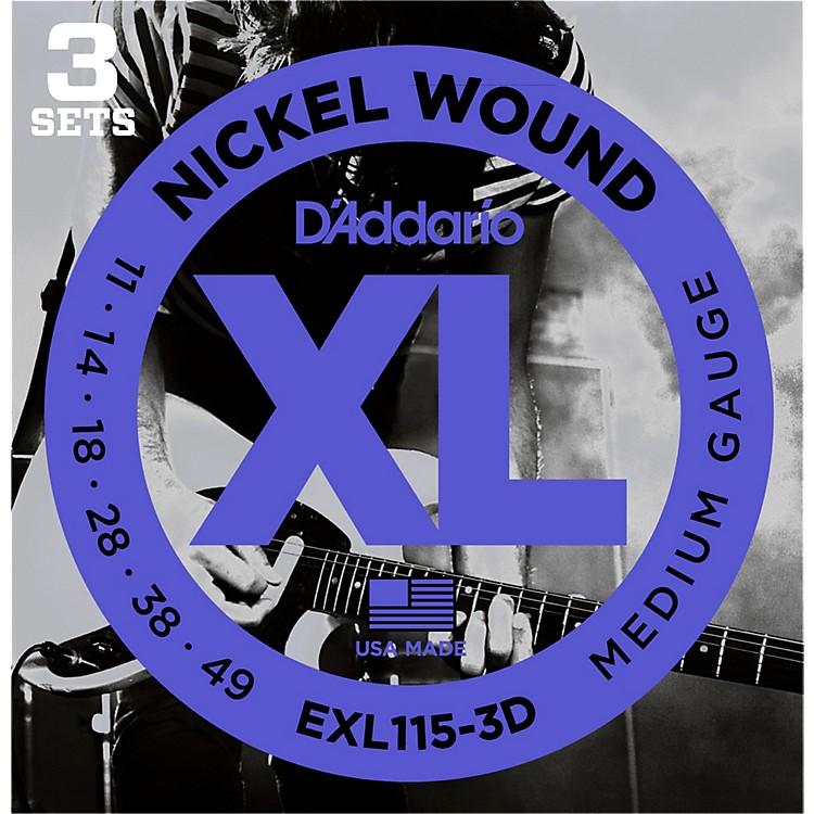 D'AddarioEXL115 Nickel Blues/Jazz Electric Guitar Strings 3-Pack