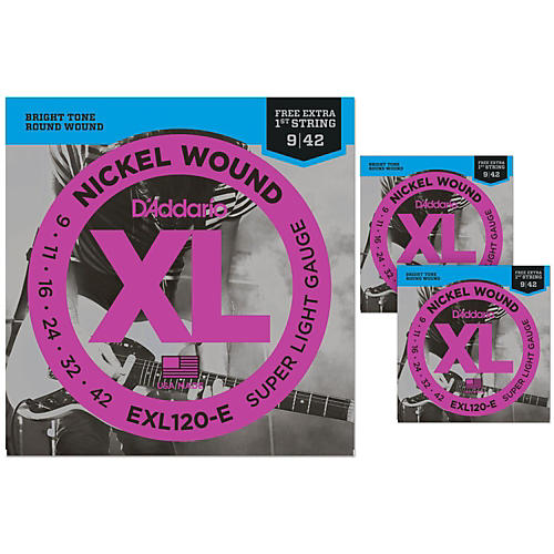 D'Addario EXL120-E Bonus Pack: Super Light Electric Guitar Strings 3 Pack with 3 Bonus High E Strings (9-42)-thumbnail