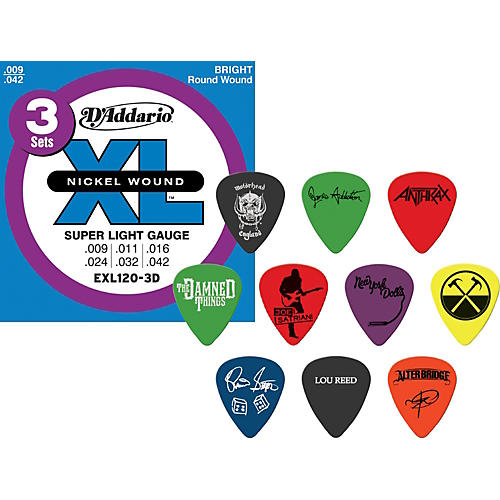 D'Addario EXL120 Electric Guitar Strings 3-Pack with Free Picks